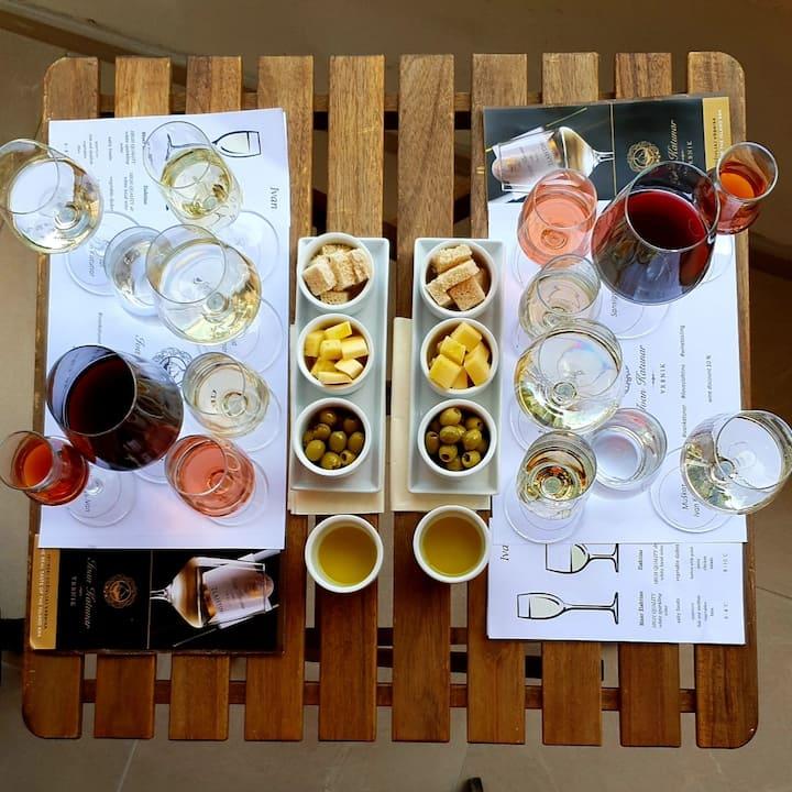 Wine tasting and snacks