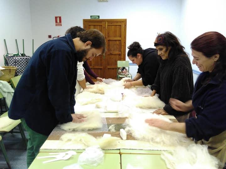 Tdos concentrados preparando la lana