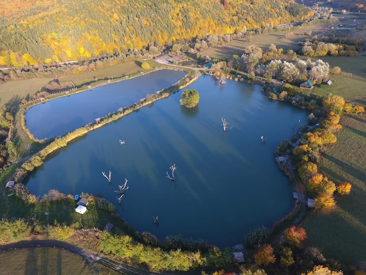 Aerial view of the lake in the autumn