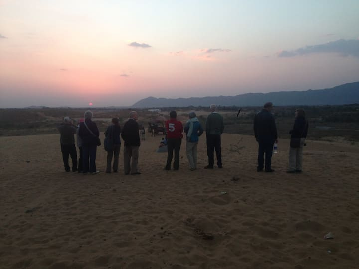 At Desert sunset with guests