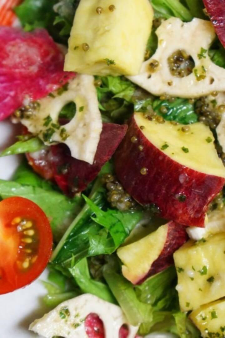 Sweet potato and lotus root green salad