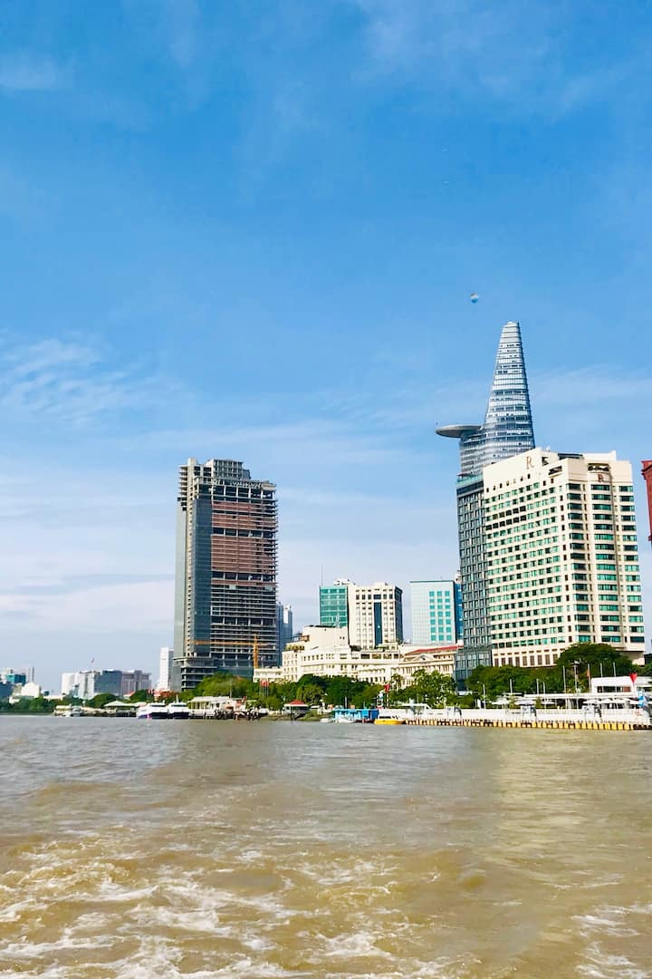 Saigon river from ferry's view