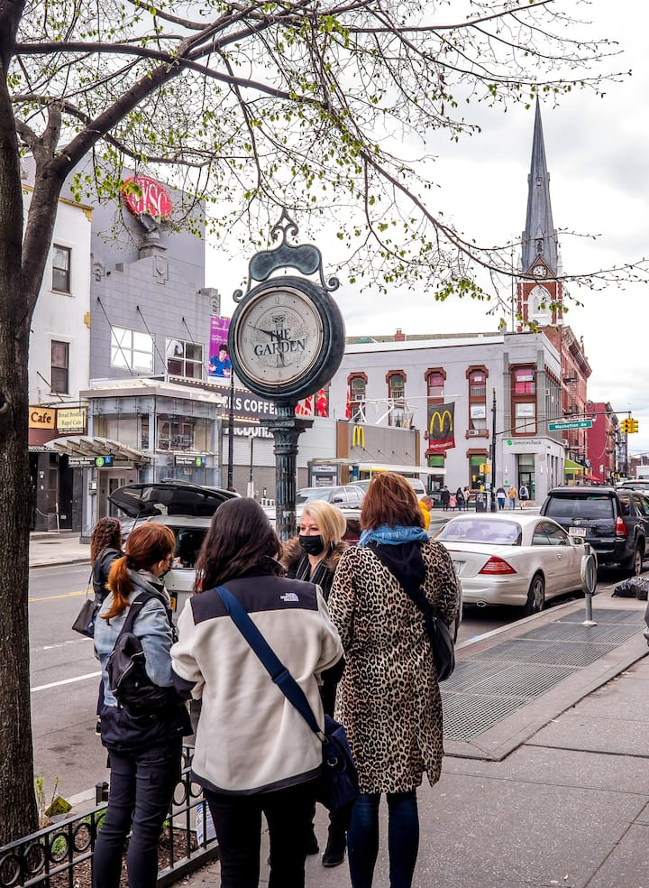 Viewing the historic street clock