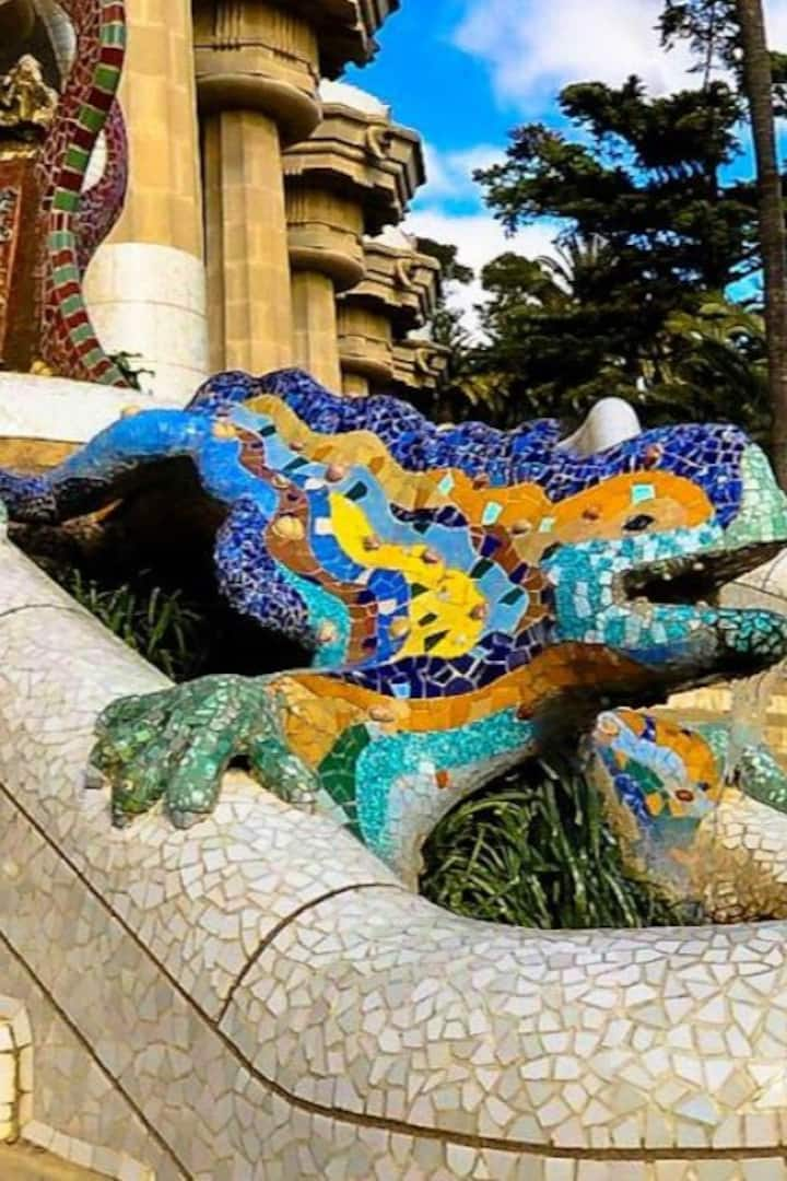 A. Gaudí s salamander  in Park Guell,