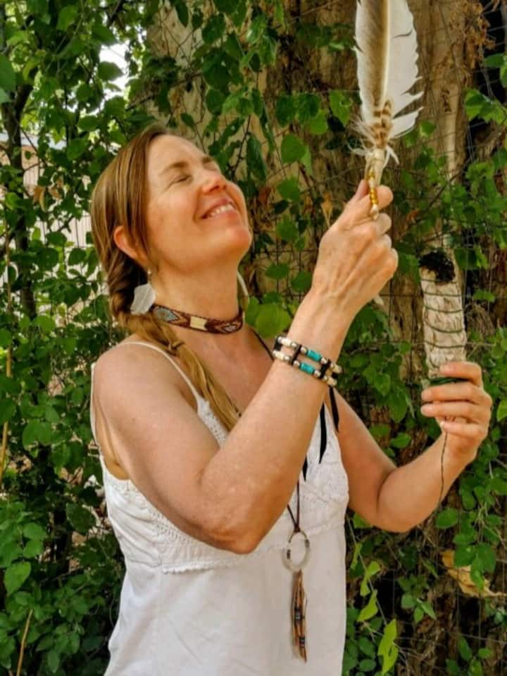 Native American energy smudging