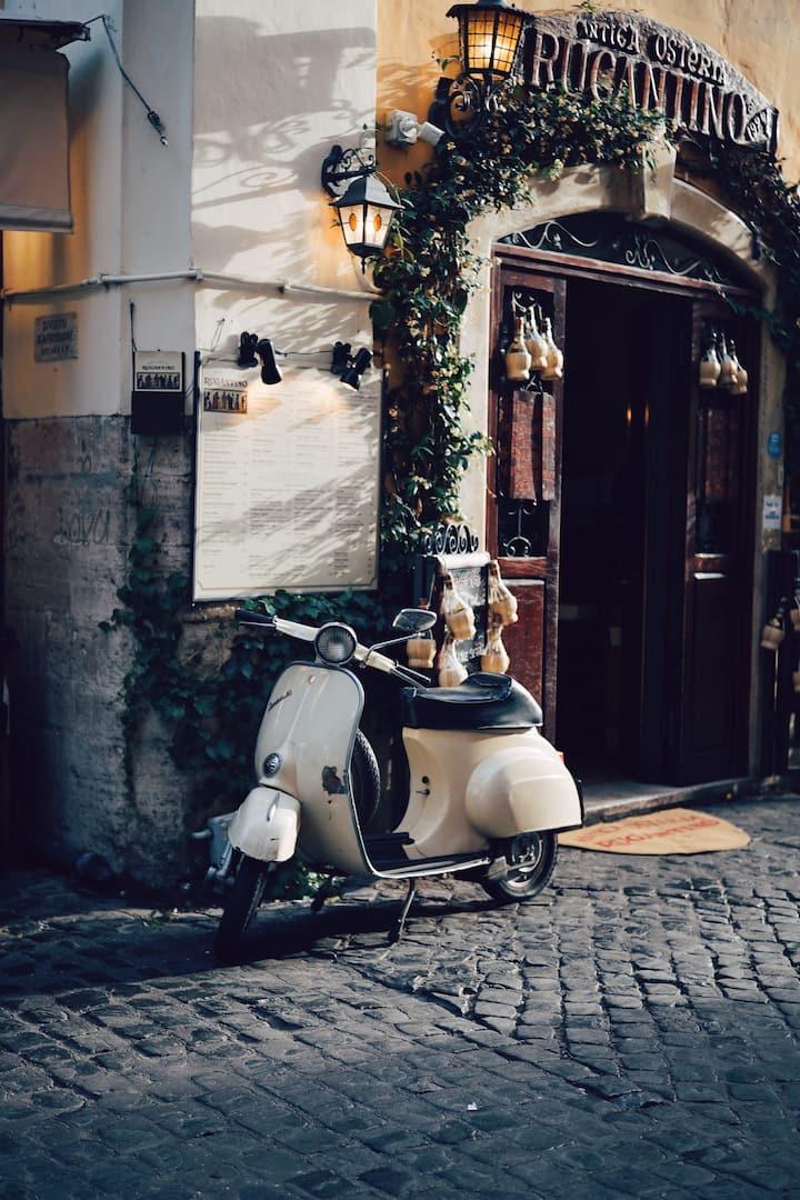 A Vespa scooter