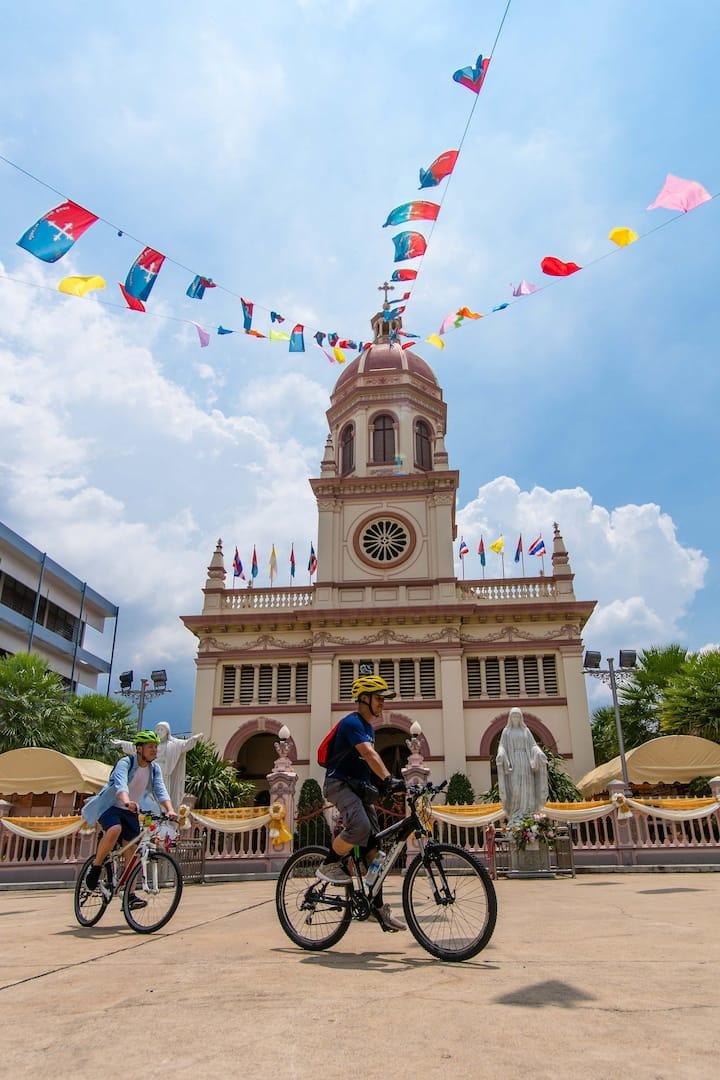 We'll bike past the Portuguese Church