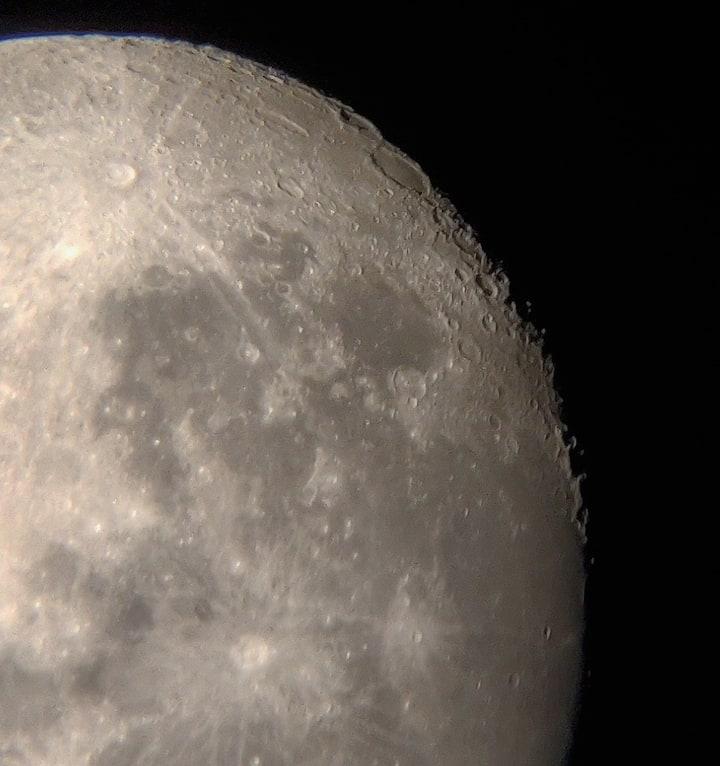 Moom captured through phone and telescope