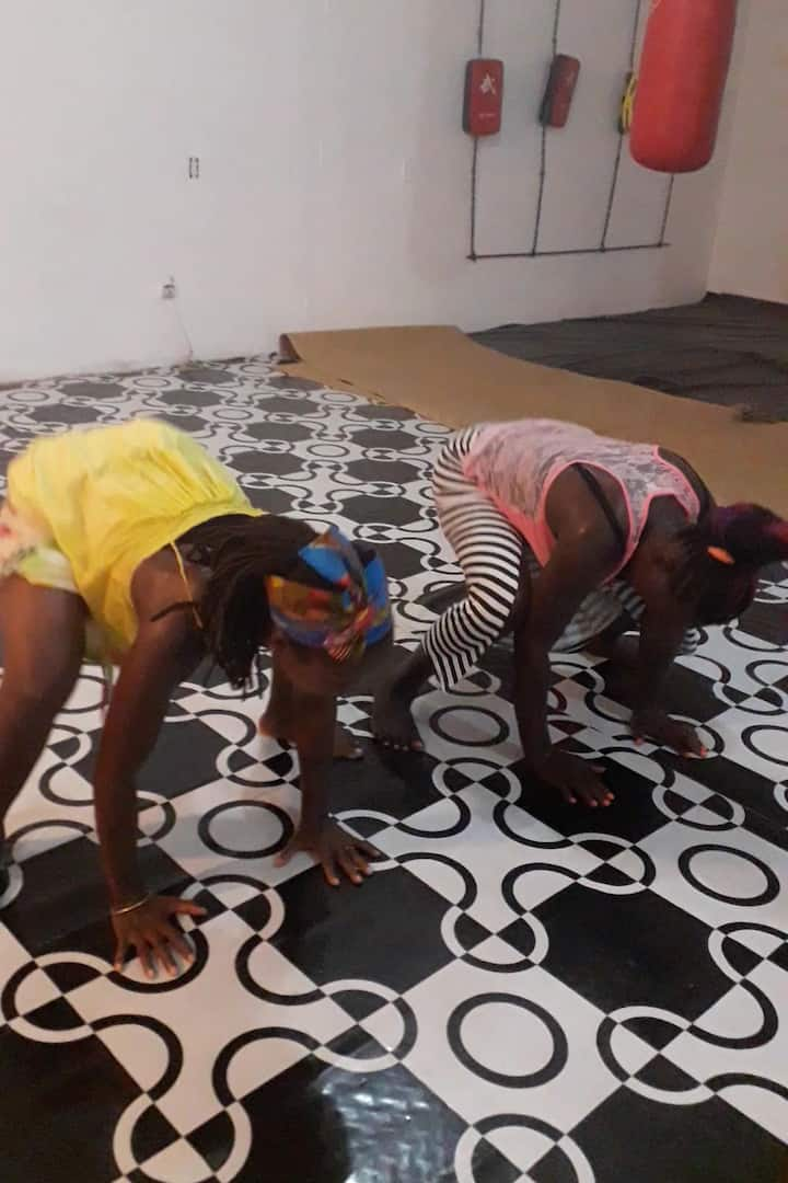 Cooling down from African Dance class.