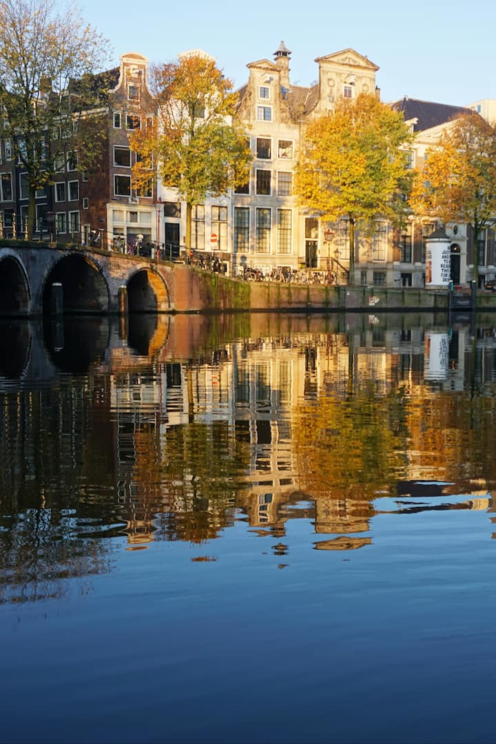 Houses reflecting in the canals