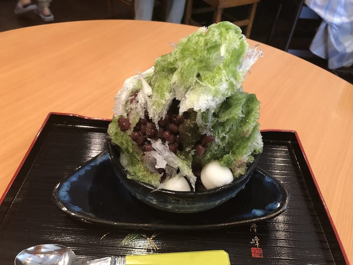 Matcha shaved ice only for summer.