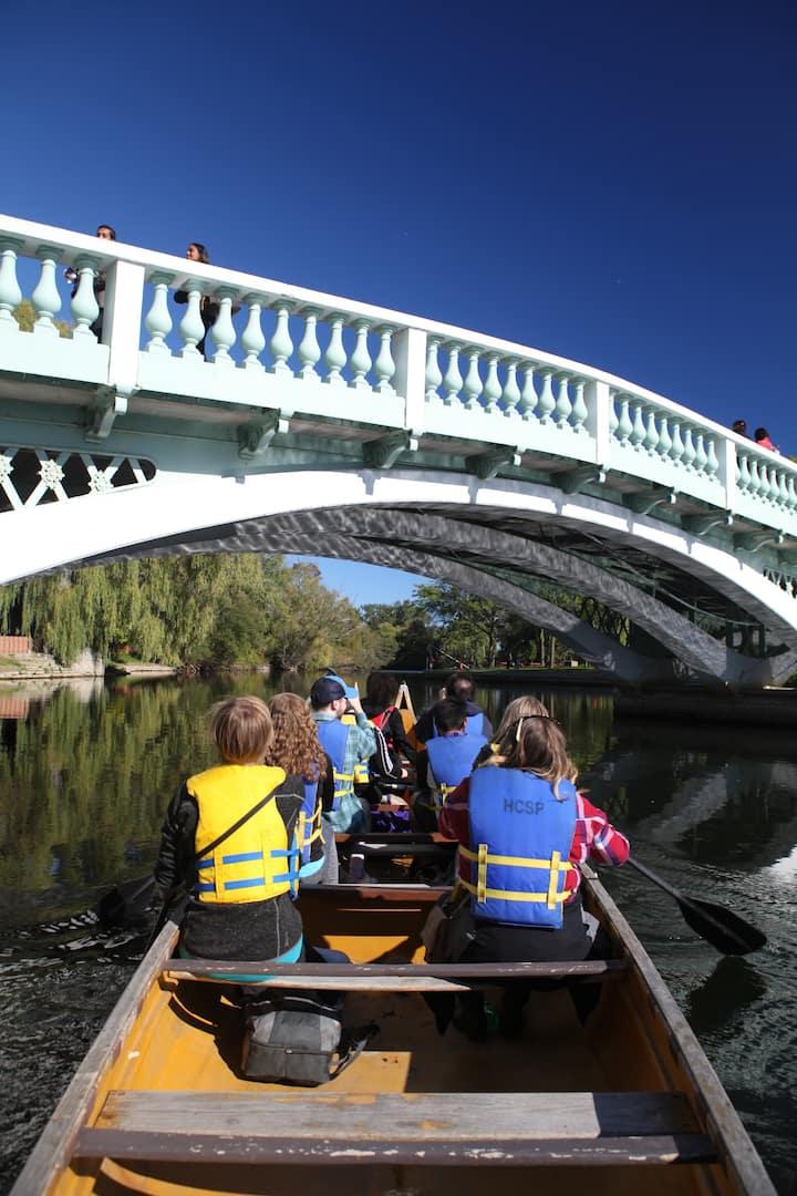 paddling under toronto islands  bridge
