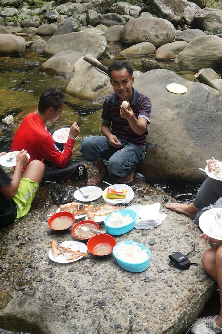 Enjoying lunch by the waterfall