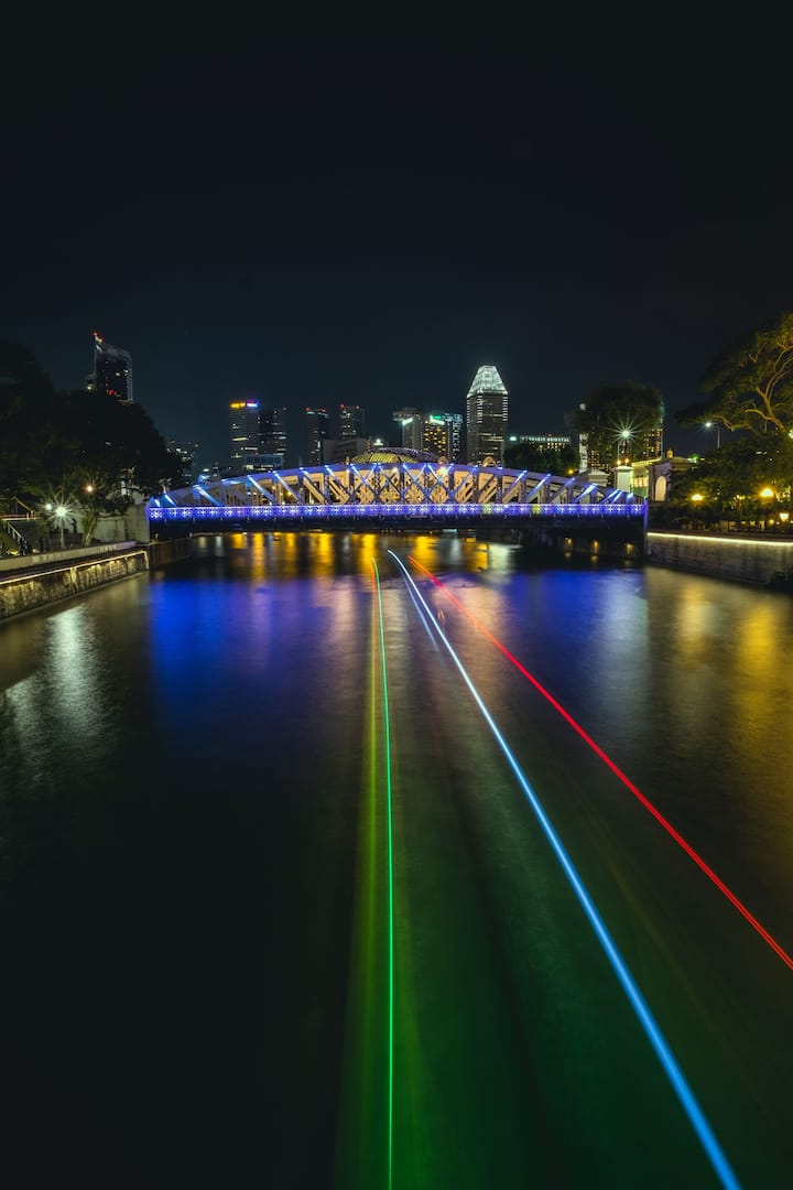 Light trails from long  exposure effect.