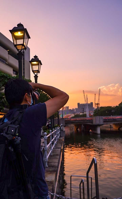 Capturing scenic sunset view.