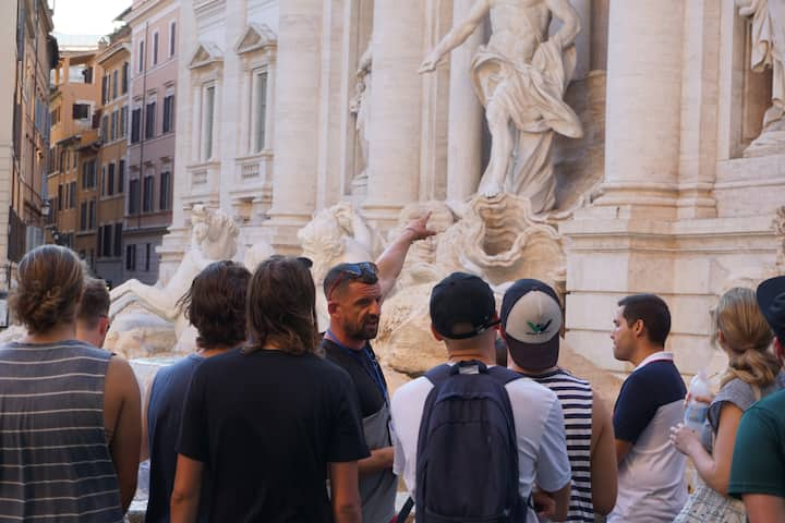 Colin and the group at the Trevi Fountain