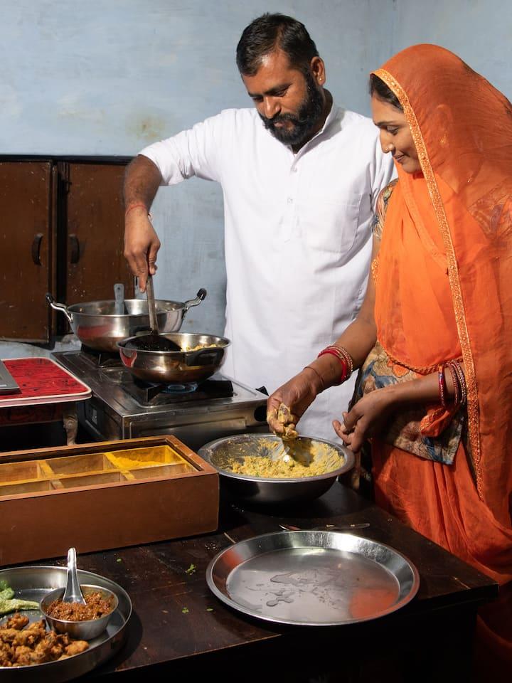 Chhotaram & Mamata Cooking