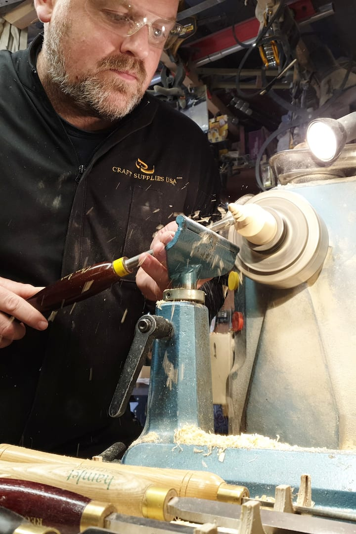 Shaping the lower finial