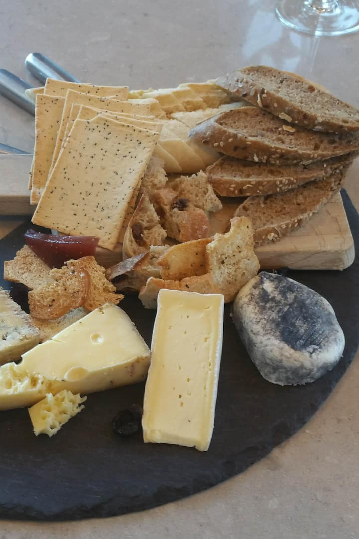 Locally produced cheeseboard morning tea