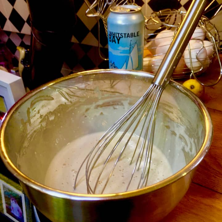 creating the special batter!