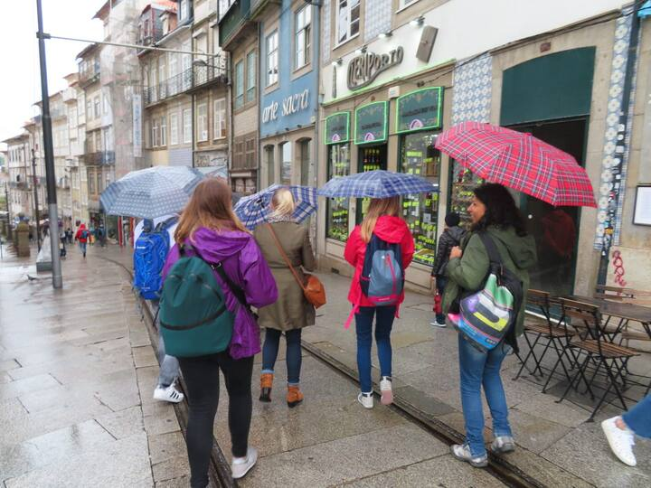 Enjoying a tour despite the rain