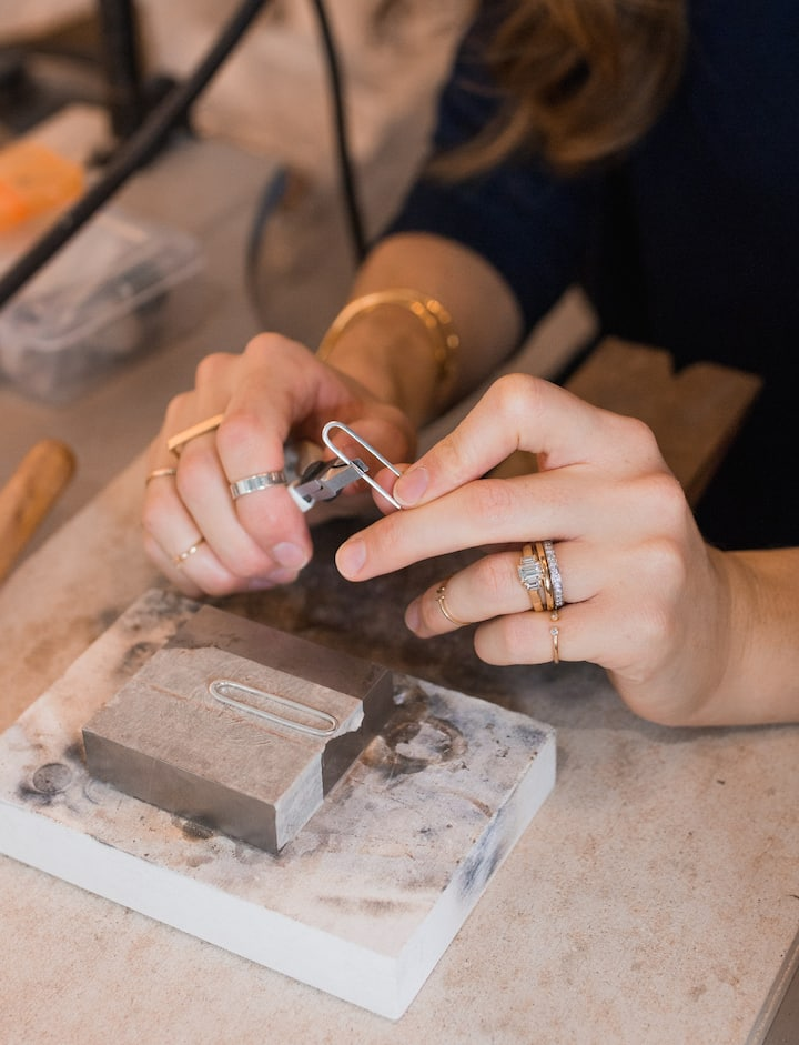Jewellery making on the workbench