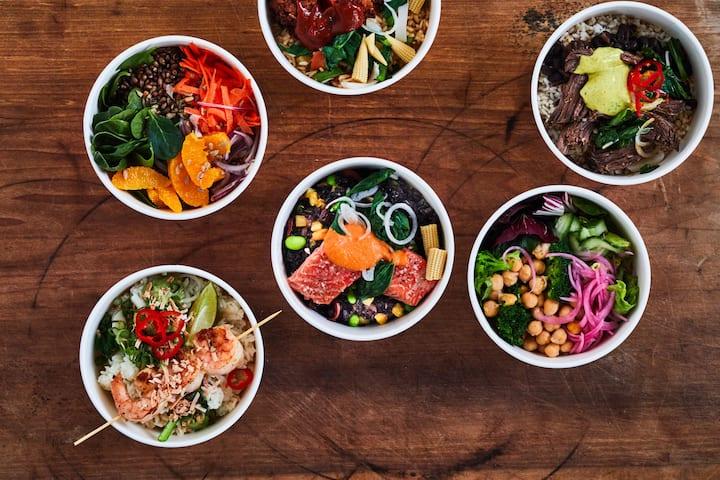 Group shot of rice bowls