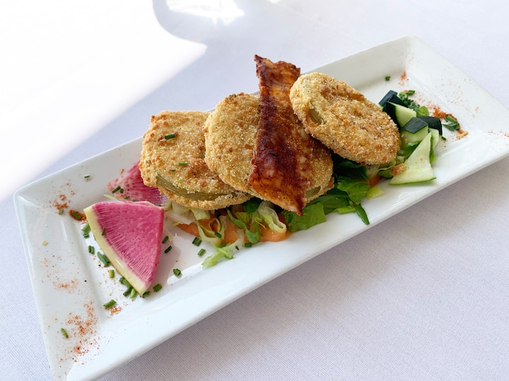 Fried Green Tomatoes with Vegan Bacon
