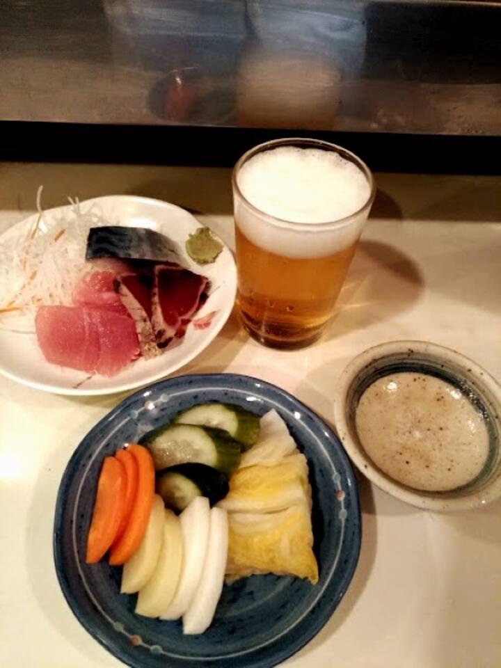 Beer,Sashimi,Oshinko