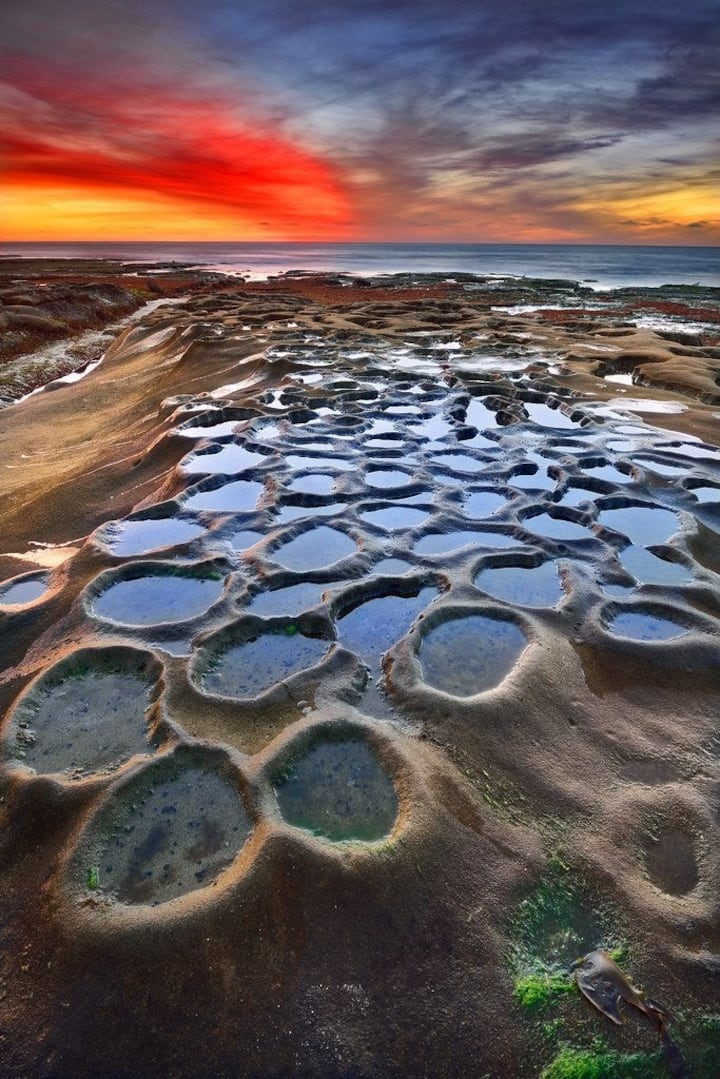 Tidal pools on a full moon low tide