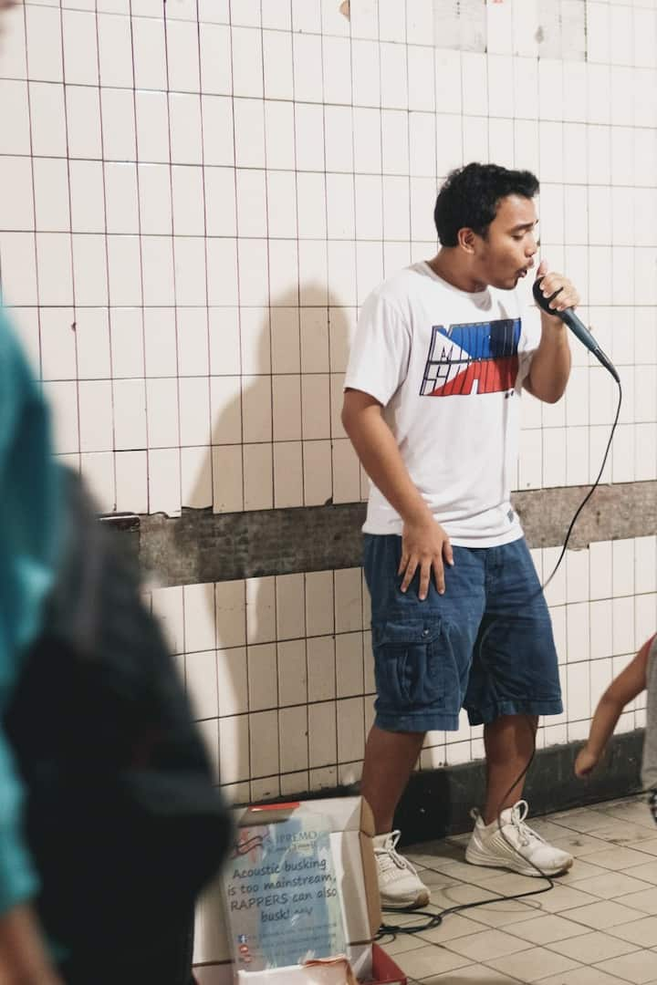 Busking at Manila Underpass