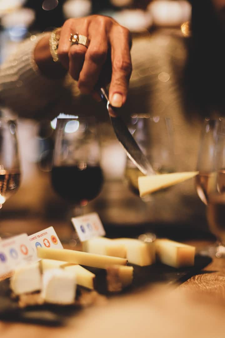 tastings of cheese and local wine