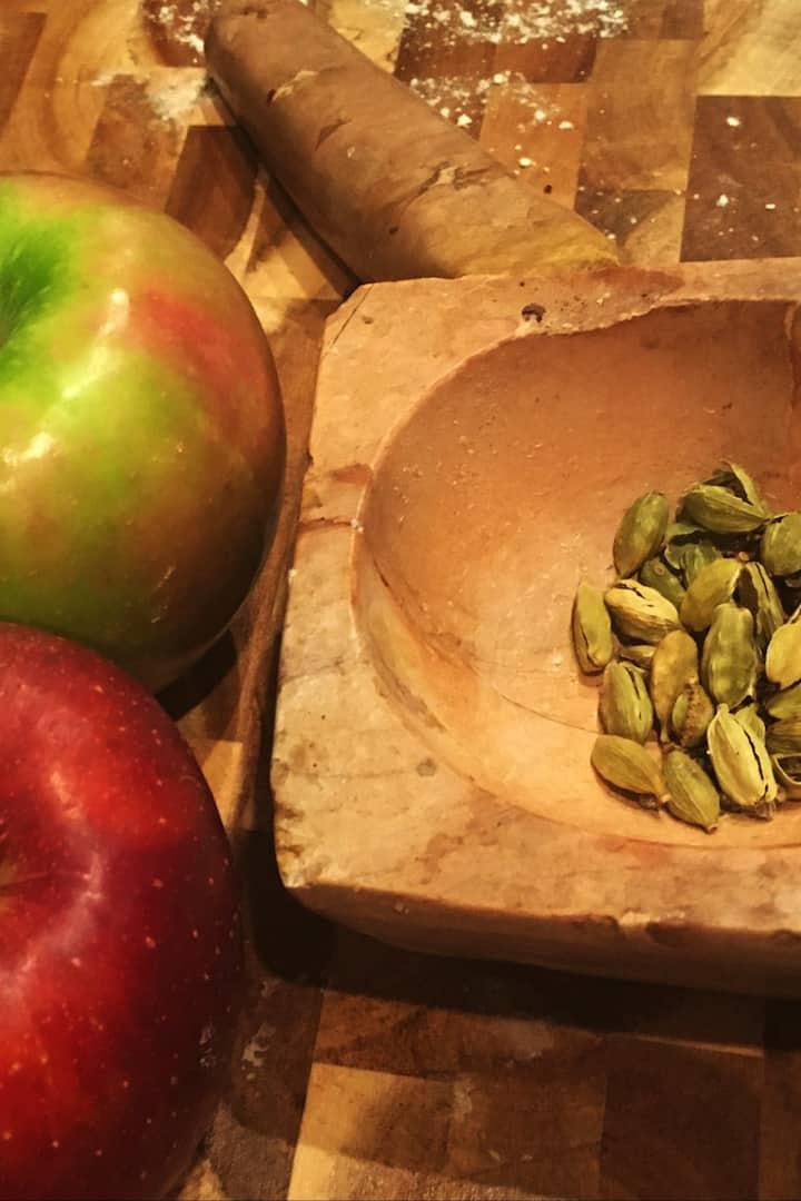 Farm market apples and cardamom