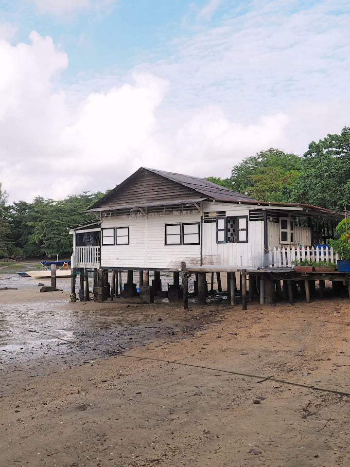 kampong stilt houses by the sea
