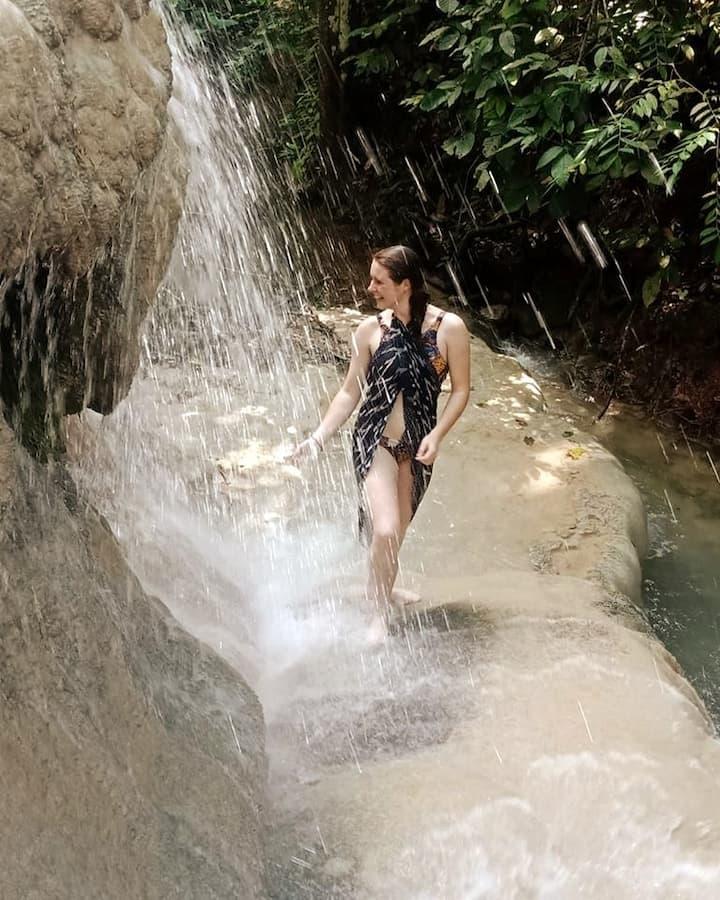 climb up and climb down the falls