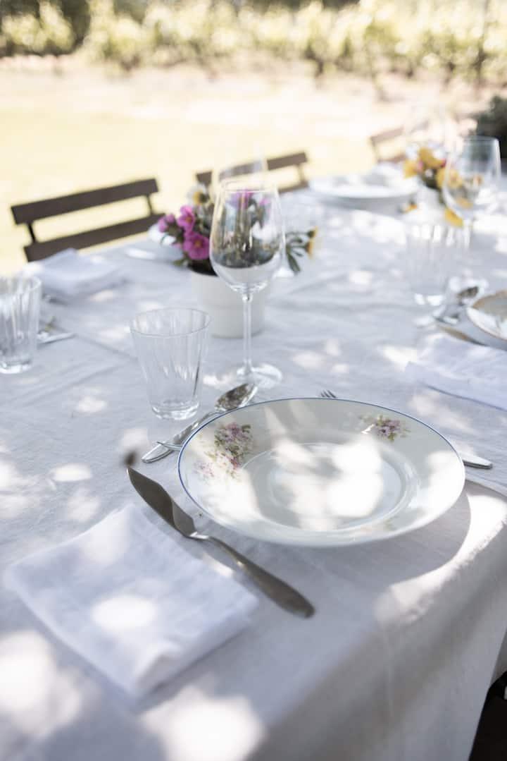 A nice table awaits.