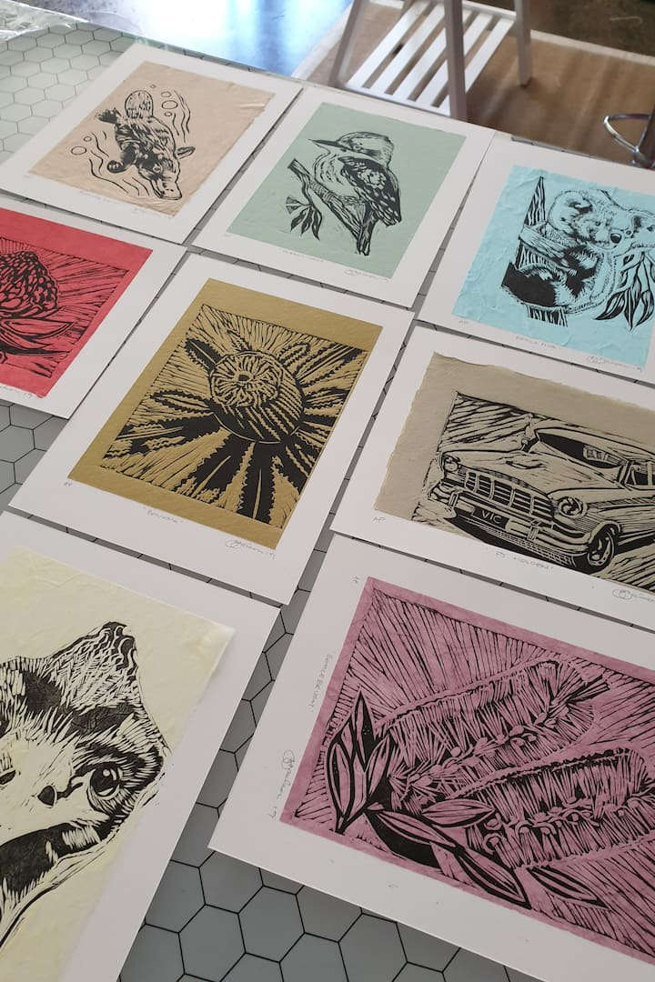 Our Australian themed linocuts to ink