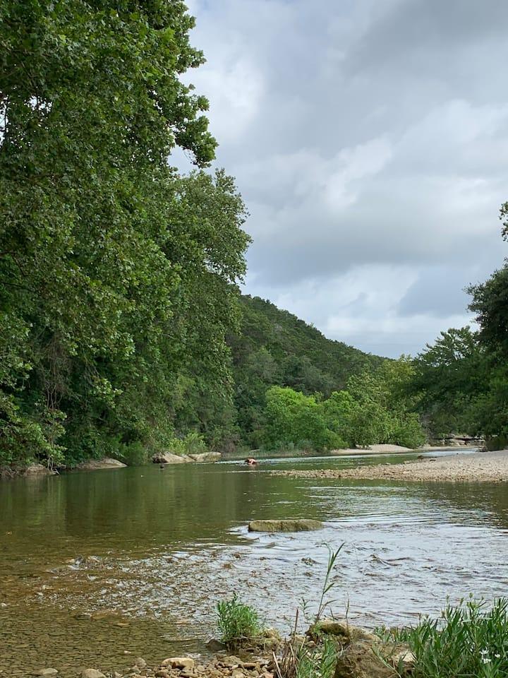 Wading in a seasonal creek
