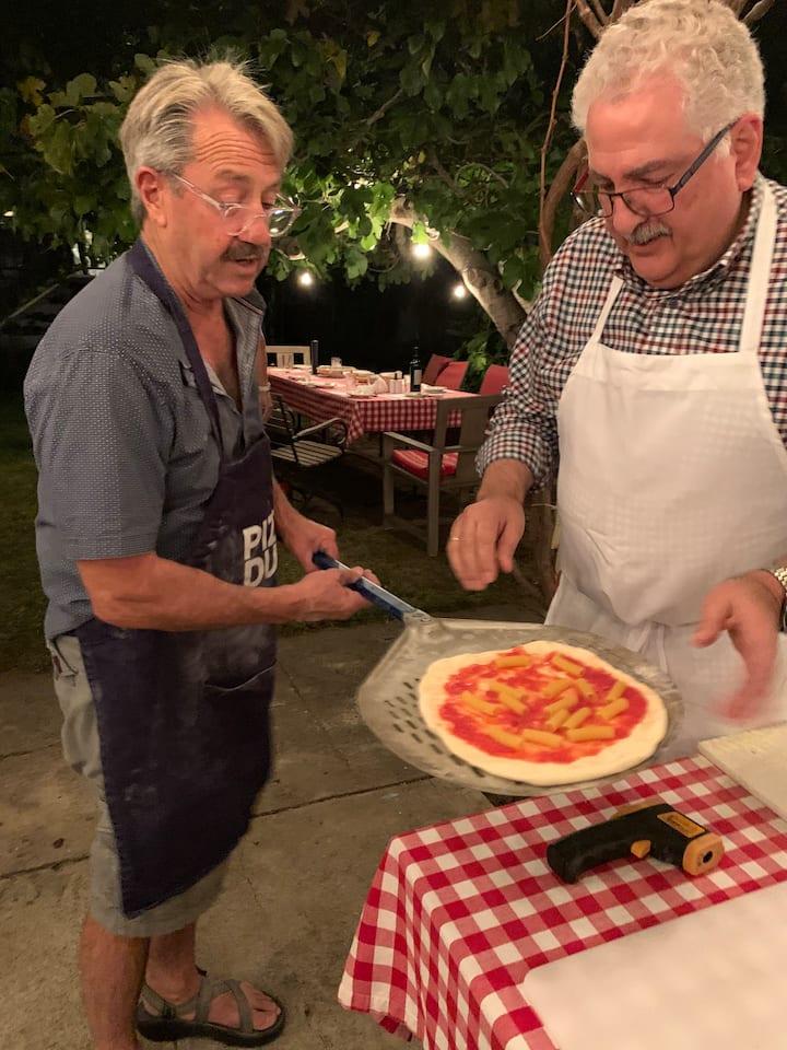 Peeling a practice pizza