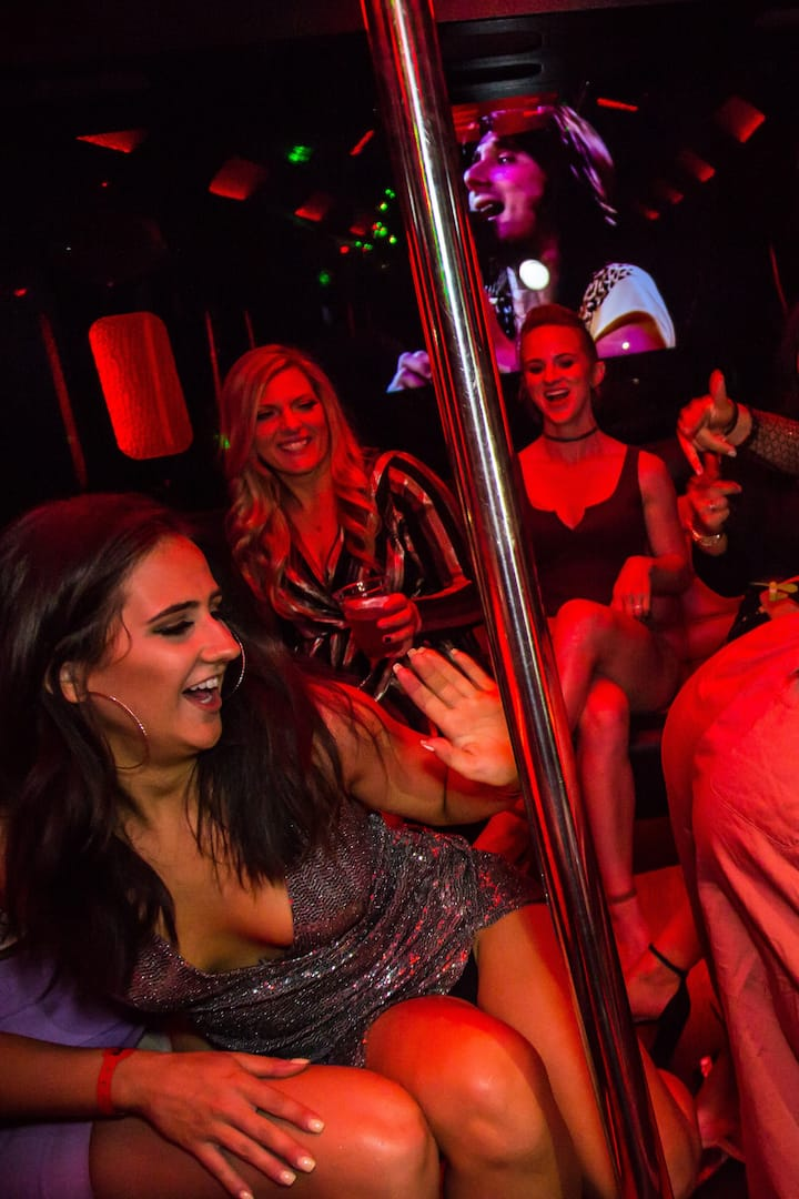 Dancing vibes on the party bus!