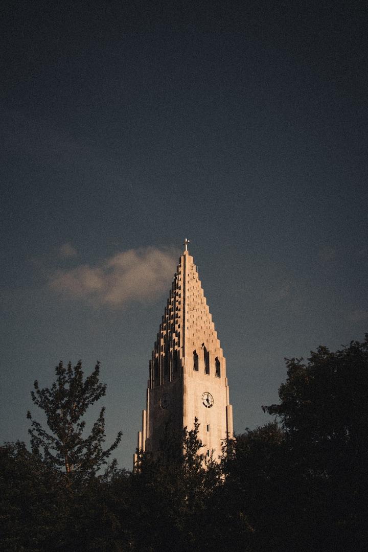 The tower of Hallgrímskirkja Church