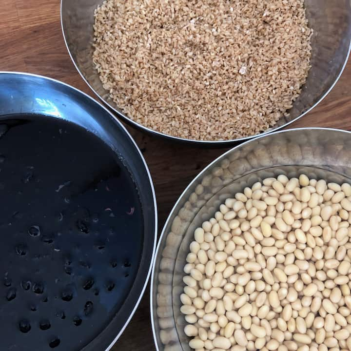 Soaked beans and Koji (Malted rice)