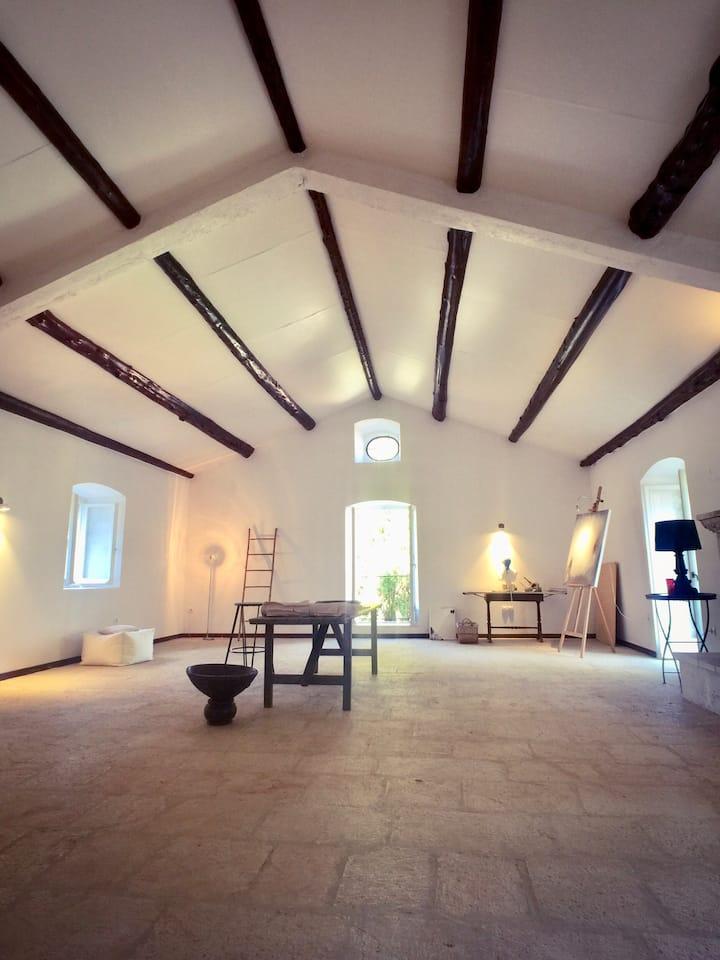 Indoor painting studio