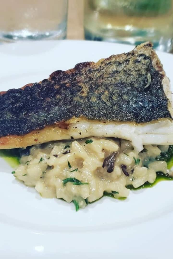 striped bass, wild mushroom risotto