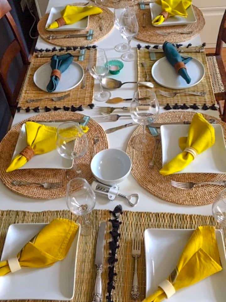 Table set for lunch guests