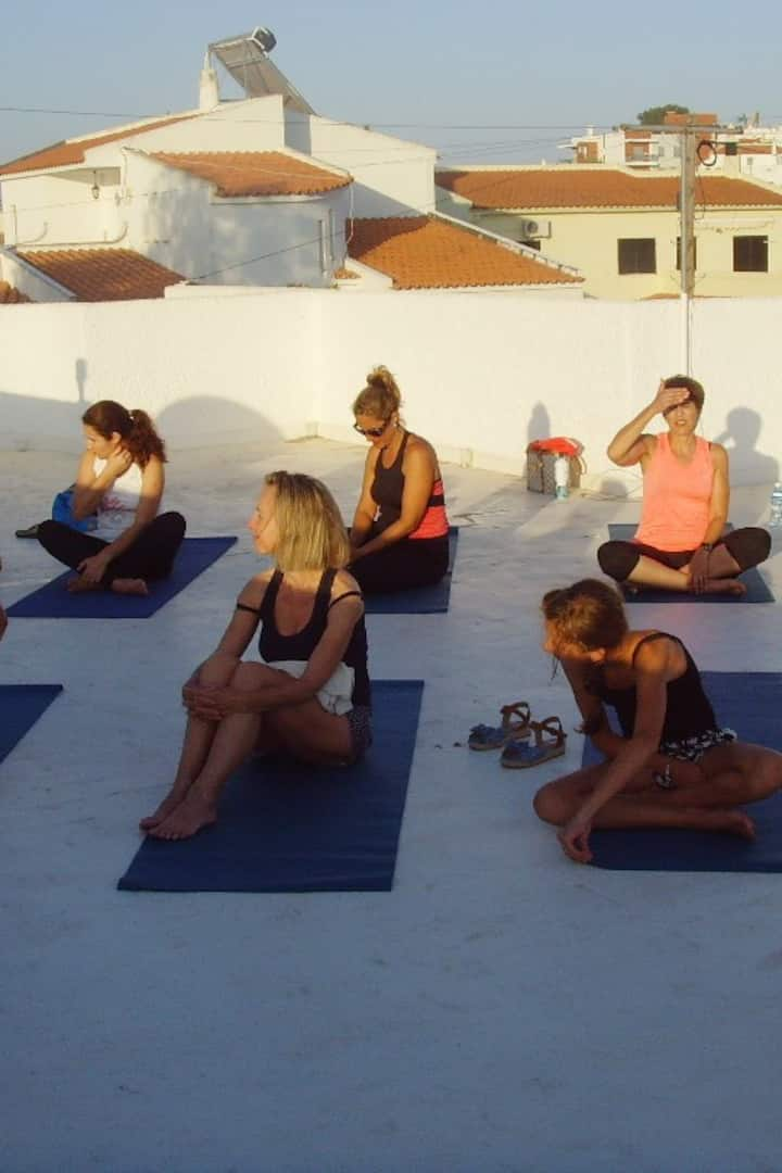 Yoga Students on my roof terrace