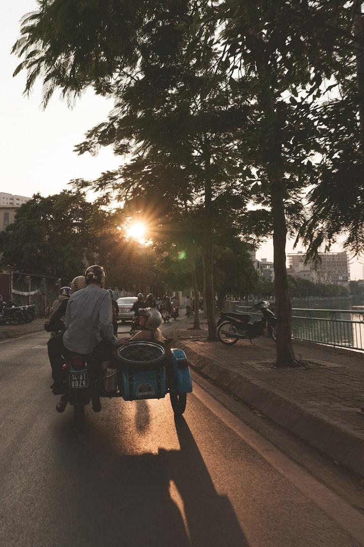 Riding in narrow Street