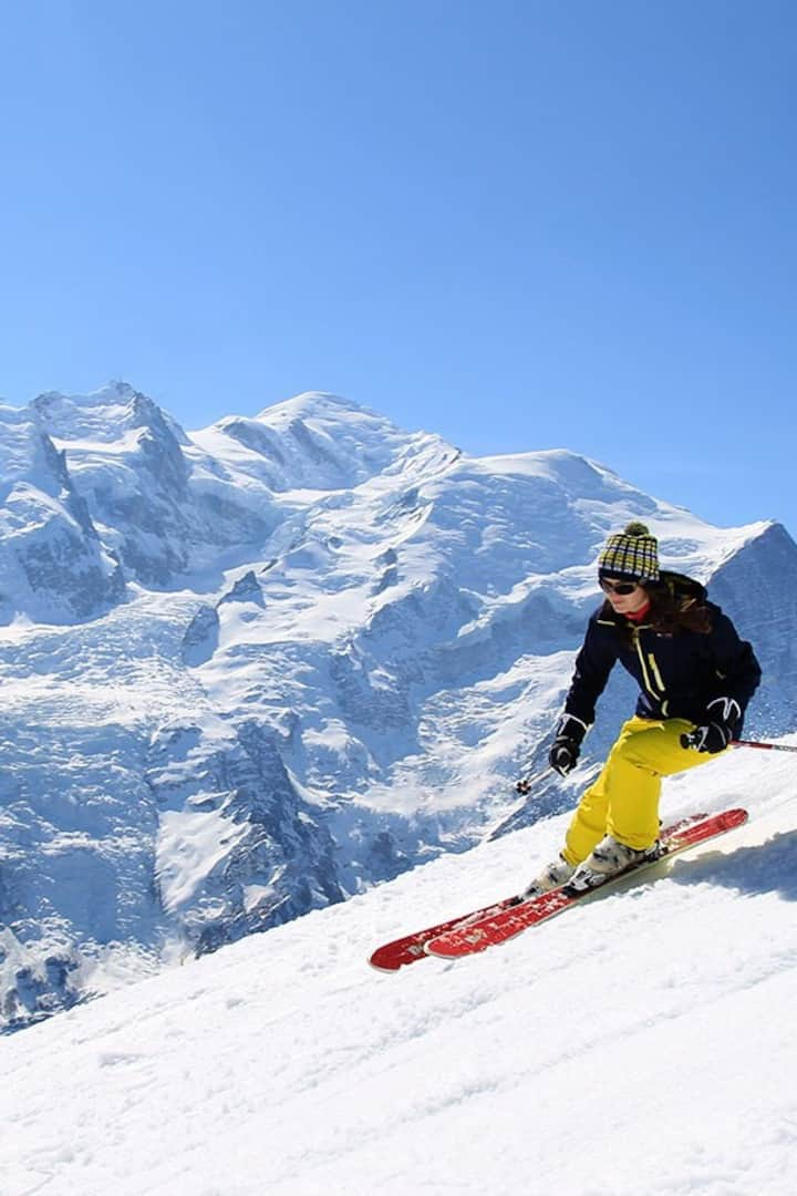 Brush up your skiing opposite Mont Blanc