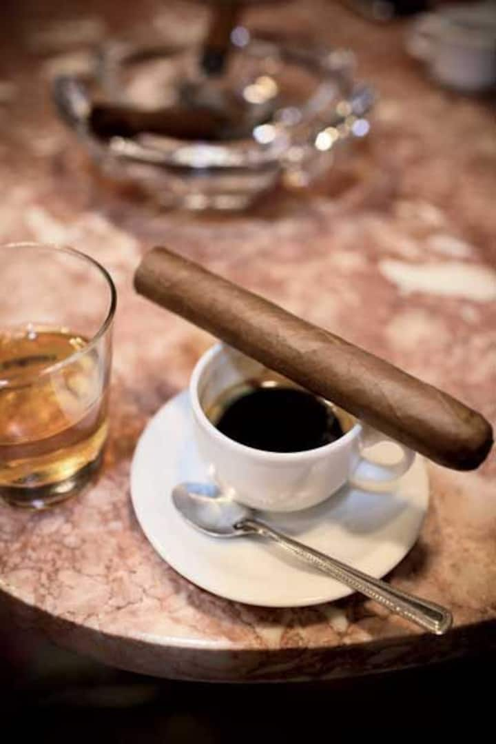 Tobacco, coffee and cuban rum