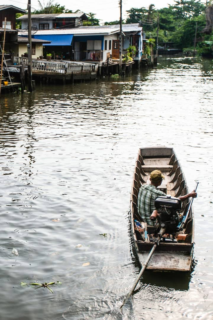 Boat is used as transport in the canal